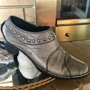 JOSEF SEIBEL GREY Studded crushed leather booties